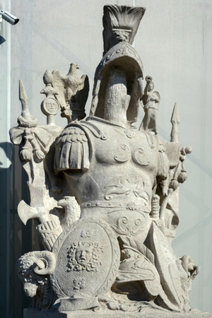roman soldiers: Statue of a Roman soldiers armour in Budapest