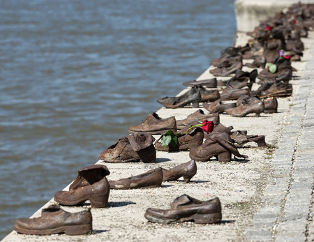 Iron shoes memorial to Jewish people executed WW2 in Budapest