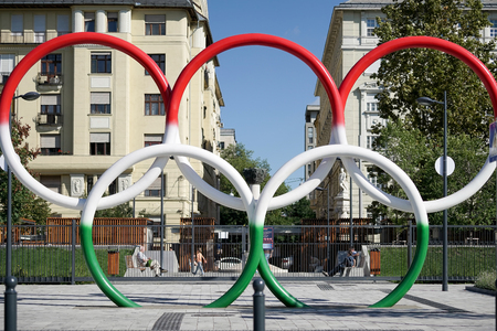 olympic rings: Olympic rings in Hungarian colours in Budapest