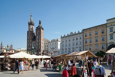 awnings windows: Main Market Square in Krakow