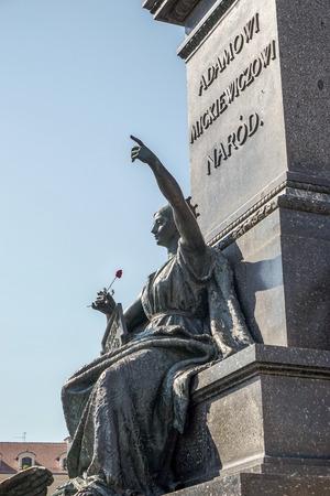 national poet: Adam Mickiewicz Monument in Krakow Stock Photo
