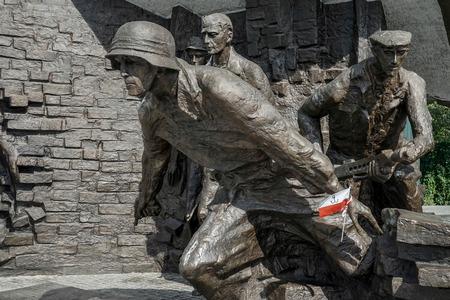 Opstandelingen Monument voor Poolse strijders van de Warschau opstand in Warschau Polen Redactioneel