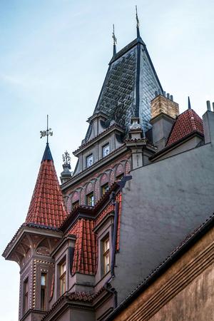 jewish quarter: Ornate building housing the Restaurant U Stare Synagogy in Prague