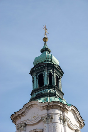 verdigris: One of the towers of St Nicholas Church in Prague