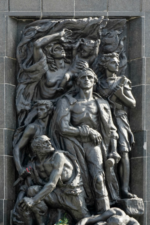 nazis: Western side Monument to the 70th Anniversary of the Warsaw Ghetto Uprising in Warsaw