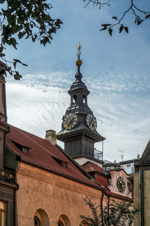 jewish town: Spire of the Jewish Town Hall in Prague