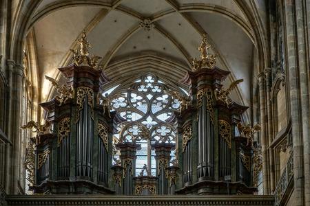 vitus: The Organ in St Vitus Cathedral in Prague Editorial