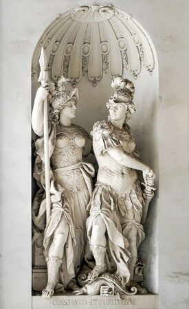 fortitude: Sculpture of Constance and Fortitude at St Michaels Gate Hofburg in Vienna