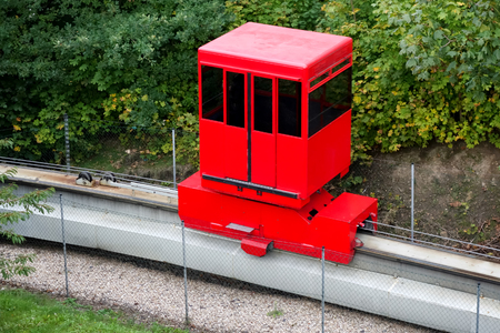 monorail: Red monorail carriage in Prague