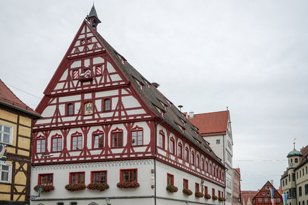 gabled house: Old timbered house in Nordlingen Stock Photo