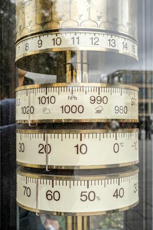 humidity gauge: Old brass weather gauge in Weimar Stock Photo