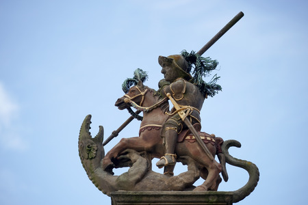 slaying: Statue on top of St. Georges Fountain in Rothenburg ob der Tauben