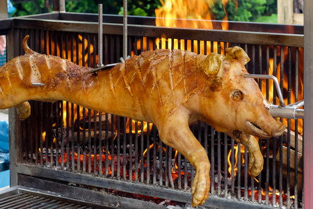 Spit roasted suckling pig on a market stall in Bergamo Stock Photo