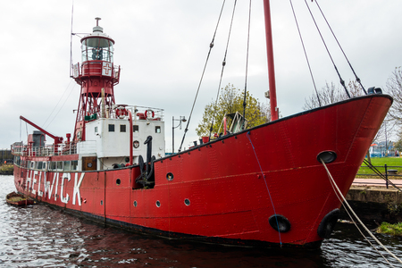 cardiff: View of Lightship 2000 in Cardiff Bay Editorial