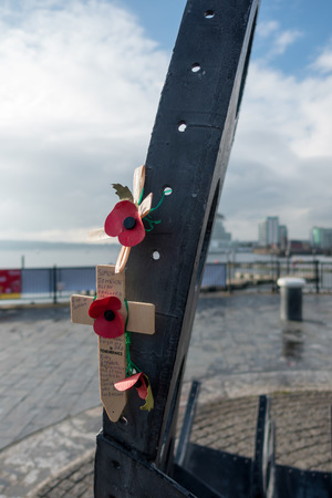 merchant: Partial view of the Merchant Seafarers War Memorial in Cardiff Bay Stock Photo