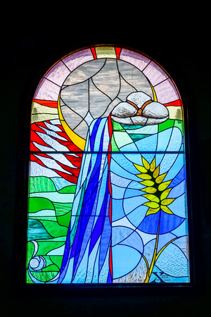 stained glass church: Stained glass window Church of the Holy Sprit in Los Gigantes Tenerife