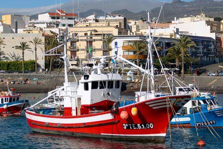 afloat: Boats moored in San Juan harbour Tenerife Editorial