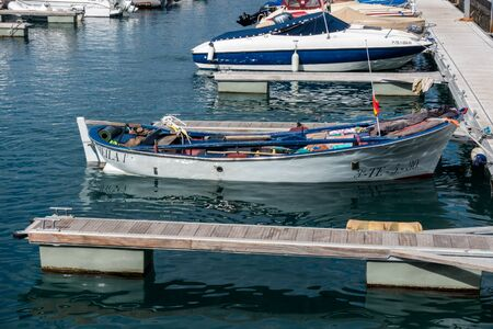 afloat: Boats moored in Los Gigantes marina Editorial