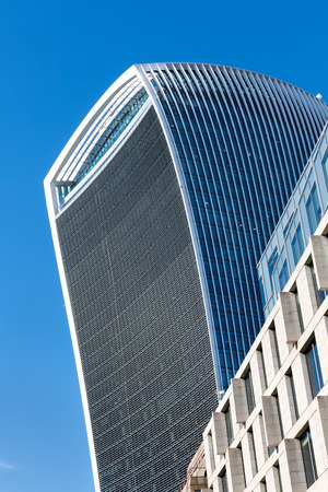 walkie: Close-up view of the Walkie Talkie building in London