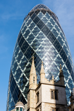 gherkin: View of the Gherkin building in London