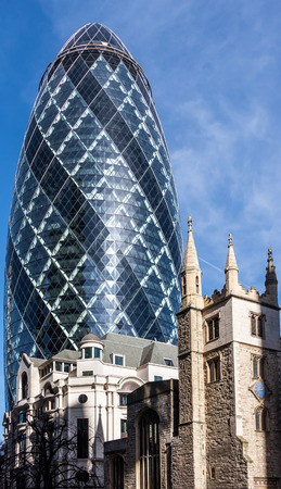 view of the gherkin building in london