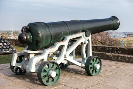 heritage protection: View of a cannon at the Castle in Rye East Sussex