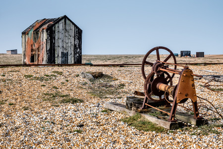 shack: Old shack and rusty machinery on Dungeness beach Stock Photo