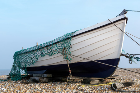 beached: Fishing boat on the beach at Dungeness