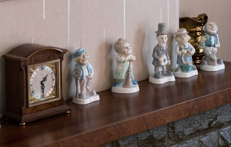 mantelpiece: Ornaments and clock on 1950s mantelpiece