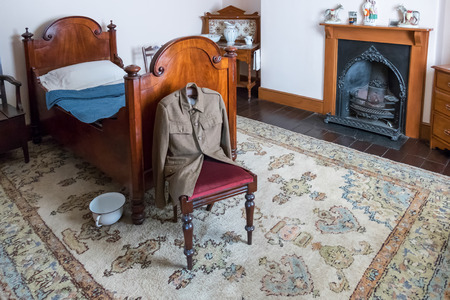 bedstead: Interior of Llwyn-yr-eos Farmstead at St Fagans National History Museum Editorial