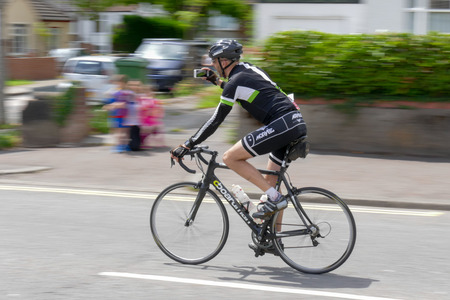 rivals rival rivalry season: Cyclist participating in the Velethon Cycling Event in Cardiff Wales on June 14, 2015