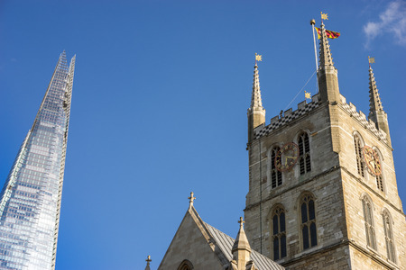 shard: View of Southwark Cathedral and the Shard in London