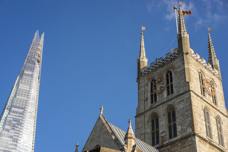 southwark: View of Southwark Cathedral and the Shard in London