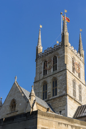 southwark: View of Southwark Cathedral tower and clock in London Stock Photo