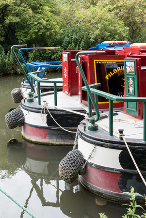 berkshire: Narrow boats on the Kennet and Avon Canal in Aldermaston Berkshire on July 5, 2015 Editorial