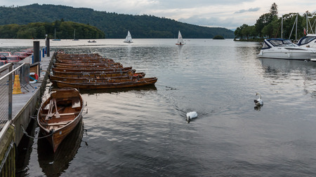 moored: Rowing Boats Moored at Bowness on Windermere Stock Photo