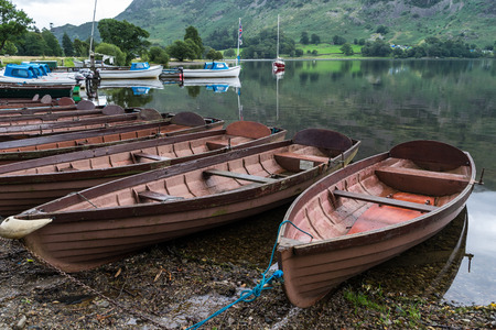 moored: Rowing boats moored at Ullswater