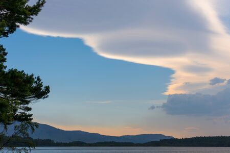 garten: Unusual Cloud Formation over Loch Garten Stock Photo