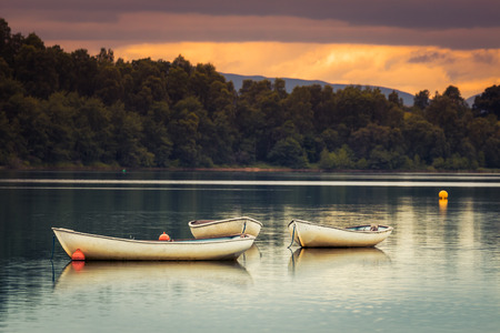 moored: Rowing boats moored on Loch Insh