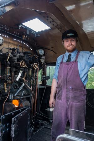 strathspey: Driver of the Ivatt 46512 Locomotive at Aviemore Station Editorial