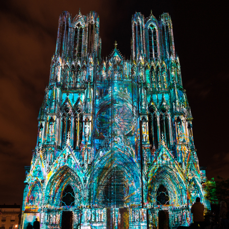 Light Show at Reims Cathedral in Reims France on September 12, 2015
