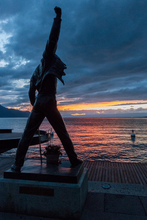 Statue of Freddie Mercury in Montreux Switzerland Фото со стока