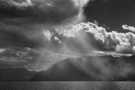 precipitation: Storm passing over Lake Geneva in Switzerland