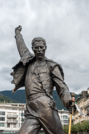 montreux: Statue of Freddie Mercury in Montreux Switzerland Stock Photo