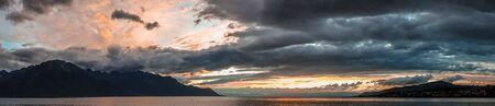 montreux: Sunset over Lake Geneva at Montreux Stock Photo