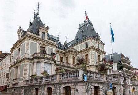 ville: View of Hotel de Ville in Evian-les-Bains France Editorial