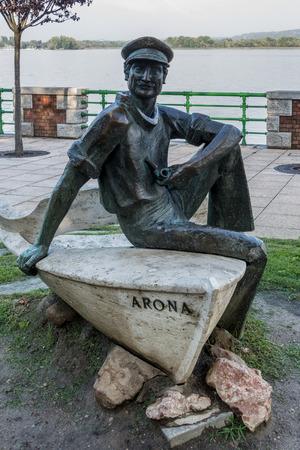 arona: Statue of a sailor at Arona Lake Maggiore Piedmont Italy