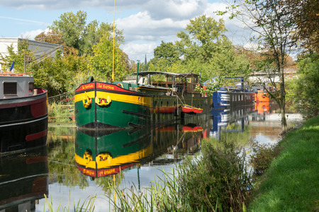france: Barges moored in Metz Lorraine Moselle France