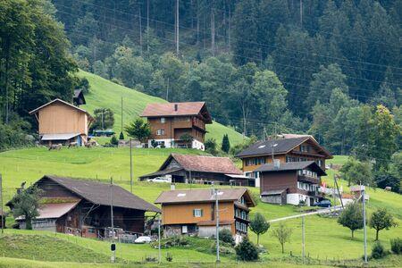 chalets: View of Swiss chalets near Lungern Obwalden in Switzerland