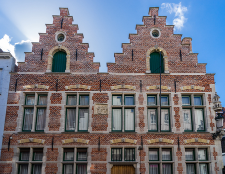 gabled: Historic gabled building inBruges West Flanders in Belgium
